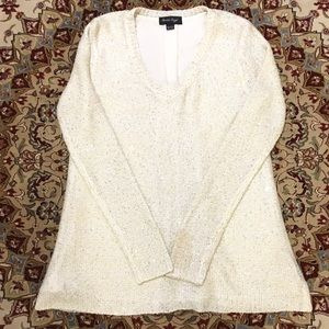 Charlie Paige Cream Sequined Tunic Sweater, S/M